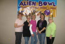 This was a Henderson House fundraising event (held in May) for the biggest turkey campaign, Alien Bowl.  Pictured Left to Right are: June ( a friend of the foundation), Carole, Joan, Mary Sue, Mary.
